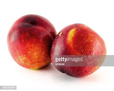 Nectarine fruit isolated on white background : Stock Photo
