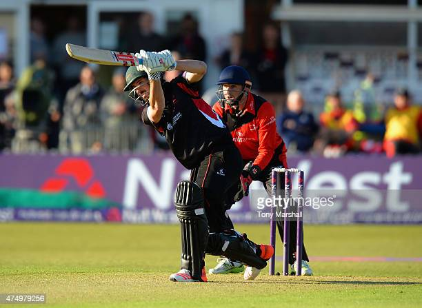 Ned Eckersley of Leicestershire Foxes bats during the NatWest T20 Blast match between Leicestershire Foxes and Durham Jets at Grace Road on May 28...