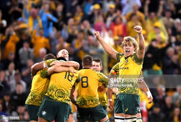 Ned Hanigan and Stephen Moore of the Wallabies celebrate victory with team mates after the Bledisloe Cup match between the Australian Wallabies and...