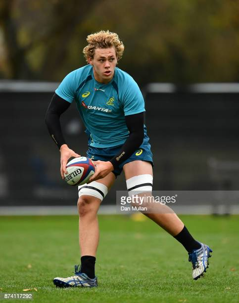 Ned Hanigan of Australia looks for a pass during a training session at the Lensbury Hotel on November 14 2017 in London England