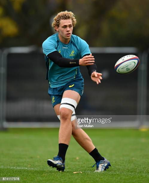 Ned Hanigan of Australia releases a pass during a training session at the Lensbury Hotel on November 14 2017 in London England
