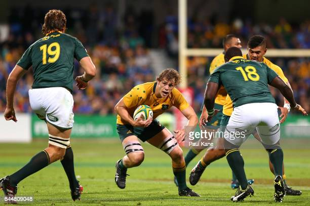 Ned Hanigan of Australia runs the ball during The Rugby Championship match between the Australian Wallabies and the South Africa Springboks at nib...