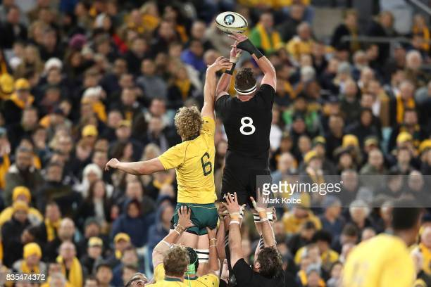 Ned Hanigan of the Wallabies and Kieran Read of the All Blacks compete for the ball in the lineout during The Rugby Championship Bledisloe Cup match...