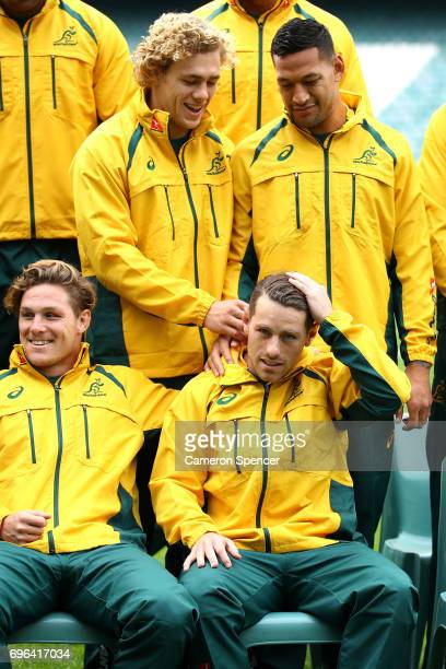 Ned Hanigan of the Wallabies plays with Bernard Foley's hair during the Australian Wallabies Captain's Run at Allianz Stadium on June 16 2017 in...
