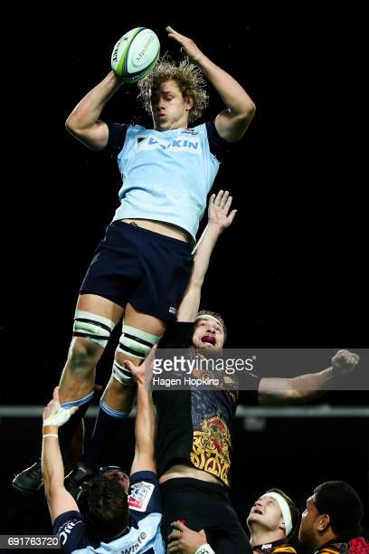 Ned Hanigan of the Waratahs wins a lineout ball during the round 15 Super Rugby match between the Chiefs and the Waratahs at Waikato Stadium on June...