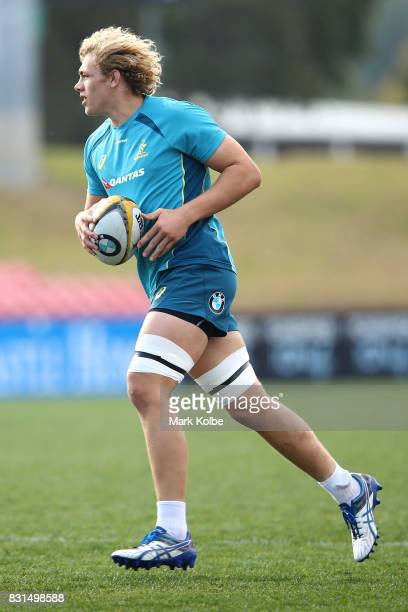 Ned Hanigan runs the ball during an Australian Wallabies training session at Pepper Stadium on August 15 2017 in Sydney Australia