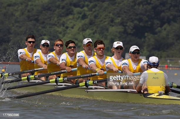 Ned Kinnear Cameron Brewer Angus Moore Alexander Hill George Ellis Scott Laidler Brendan Murray Tom Gatti and David Webster of Australia compete in...