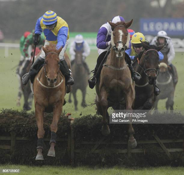 Ned of the Hill ridden by Martin Doran jumps the last to win the Bord na Mona Clean Energy Handicap Hurdle during the Bord na Mona Day of the...