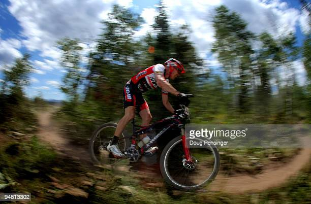 Ned Overend of Durango Colorado races in the Men's Pro Cross Country at the US Mountain Bike National Championships at the Sol Vista Bike Park on...
