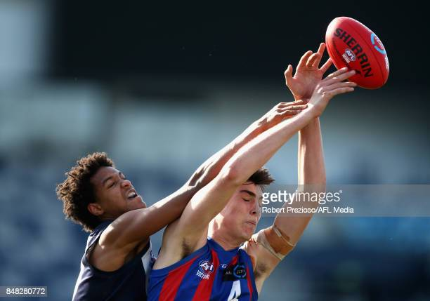 Ned Reeves of Oakleigh Chargers contests the ball during the TAC Cup Preliminary Final match between Oakleigh Chargers and Sandringham Dragons at...