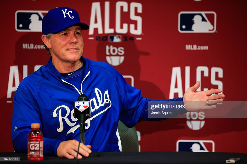 <a gi-track='captionPersonalityLinkClicked' href=/galleries/search?phrase=Ned+Yost&family=editorial&specificpeople=228571 ng-click='$event.stopPropagation()'>Ned Yost</a> #3 of the Kansas City Royals speaks to the media after weather postponed Game Three of the American League Championship Series between the Baltimore Orioles and the Kansas City Royals at Kauffman Stadium on October 13, 2014 in Kansas City, Missouri.
