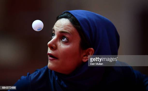 Neda Shahsavari of Iran competes against Ozge Yilmaz of Turkey in the Womens Table Tennis Quarter Final during day seven of Baku 2017 4th Islamic...