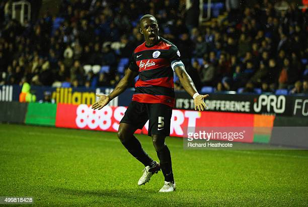 Nedum Onuoha of QPR celebrates as he scores their first goal during the Sky Bet Championship match between Reading and Queens Park Rangers at...
