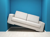 3d image of leather sofa in narrow space