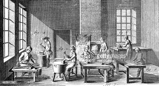 Needle making workshop 17511780 Cutting needle lengths from steel wire flattening the end stamping the eye punching the eye filing the eye and...