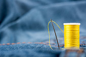 Needles, sewing thread and fabric