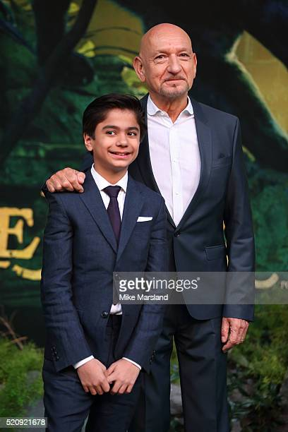 Neel Sethi and Sir Ben Kingsley arrive for the European premiere of 'The Jungle Book' at BFI IMAX on April 13 2016 in London England