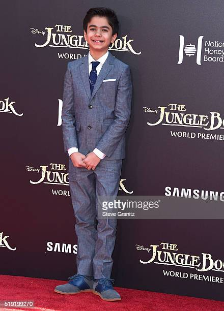 Neel Sethi arrives at the Premiere Of Disney's 'The Jungle Book' at the El Capitan Theatre on April 4 2016 in Hollywood California