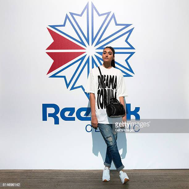 Neelam Gill attends a celebration of Reebok Classic Leather at Bankside London SE1 on March 10 2016 in London England