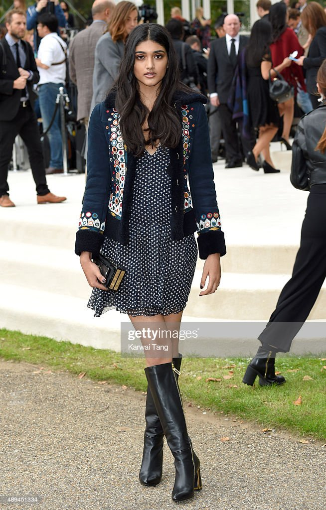 Neelam Gill attends the Burberry Prorsum show during London Fashion Week Spring/Summer 2016/17 at Kensington Gardens on September 21, 2015 in London, England.