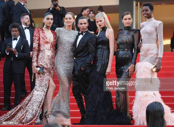 Neelam Gill Doutzen Kroes Olivier Rousteing Lara Stone Irina Shayk and Maria Borges attend the 'The Beguiled' screening during the 70th annual Cannes...