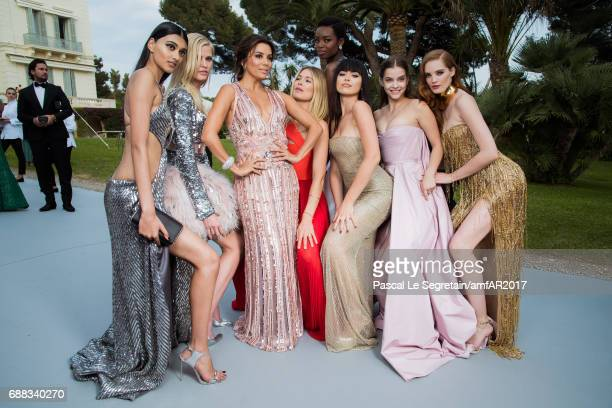 Neelam Gill Lara Stone Eva Longoria Doutzen Kroes Maria Borges Kristina Bazan Barbara Palvin and Alexina Graham attend the amfAR Gala Cannes 2017 at...