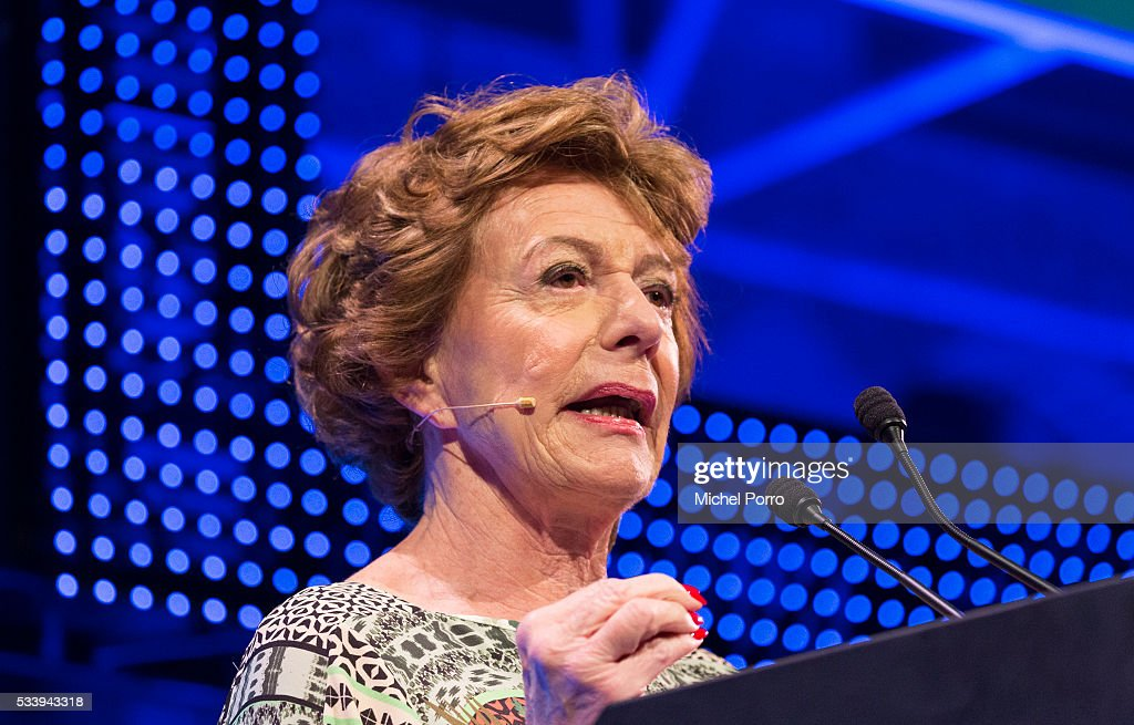 Neelie Kroes attends the kickoff of Startup Fest Europe on May 24 2016 in Amsterdam The Netherlands The event facilitates matchmaking between...