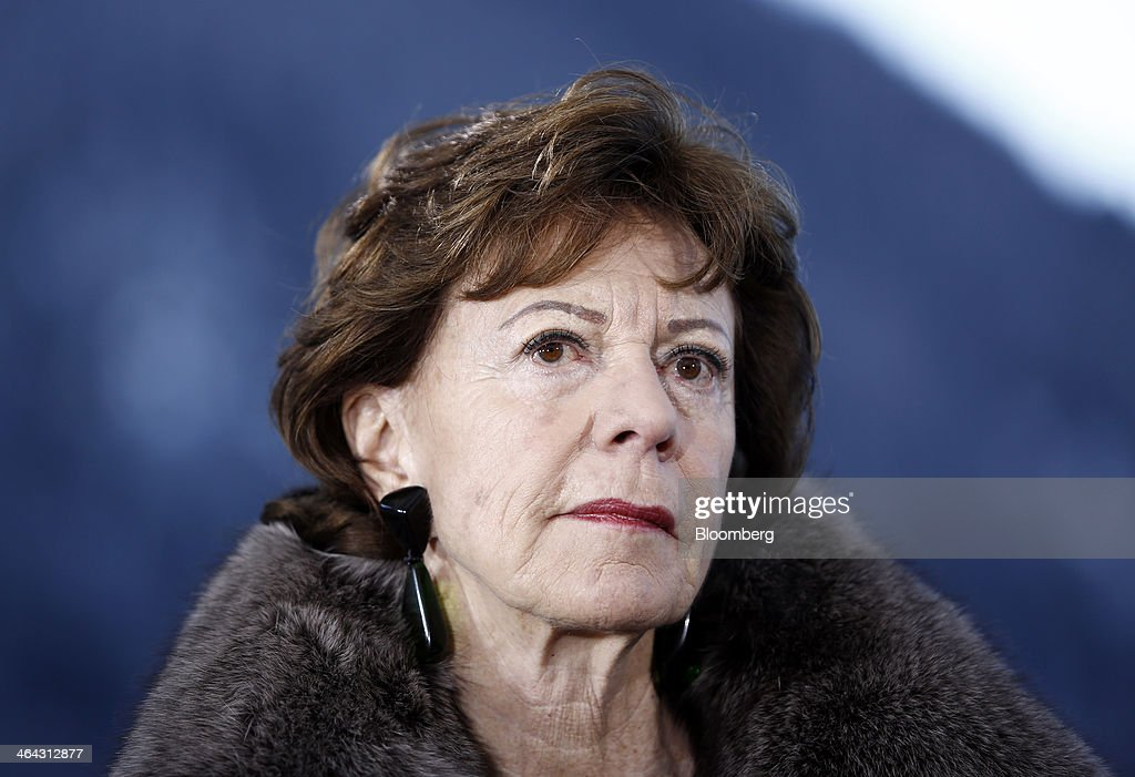 Neelie Kroes, competition commissioner for the European Union (EU), pauses during a Bloomberg Television interview on the opening day of the World Economic Forum (WEF) in Davos, Switzerland, on Wednesday, Jan. 22, 2014. World leaders, influential executives, bankers and policy makers attend the 44th annual meeting of the World Economic Forum in Davos, the five day event runs from Jan. 22-25. Photographer: Simon Dawson/Bloomberg via Getty Images