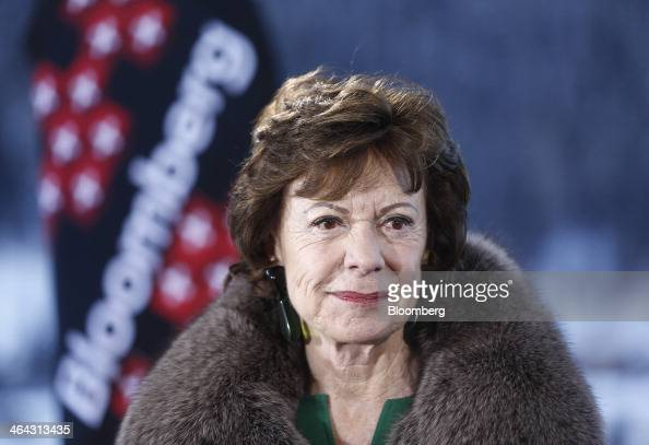 Neelie Kroes competition commissioner for the European Union pauses during a Bloomberg Television interview on the opening day of the World Economic...