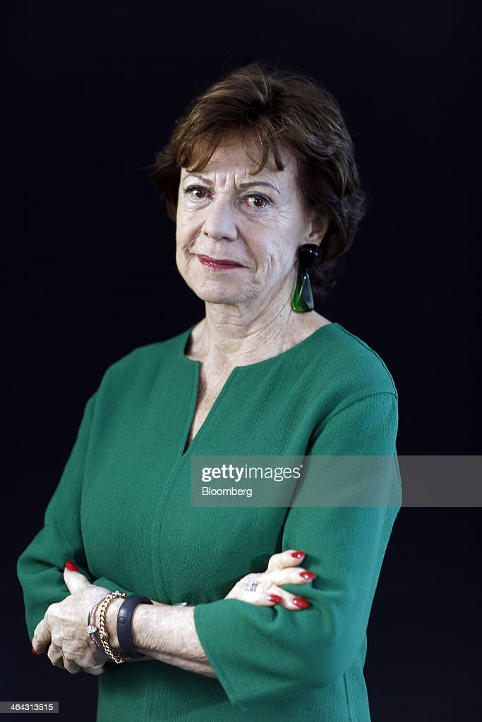 <a gi-track='captionPersonalityLinkClicked' href=/galleries/search?phrase=Neelie+Kroes&family=editorial&specificpeople=754723 ng-click='$event.stopPropagation()'>Neelie Kroes</a>, competition commissioner for the European Union (EU), poses for a photograph following a Bloomberg Television interview on the opening day of the World Economic Forum (WEF) in Davos, Switzerland, on Wednesday, Jan. 22, 2014. World leaders, influential executives, bankers and policy makers attend the 44th annual meeting of the World Economic Forum in Davos, the five day event runs from Jan. 22-25. Photographer: Simon Dawson/Bloomberg via Getty Images