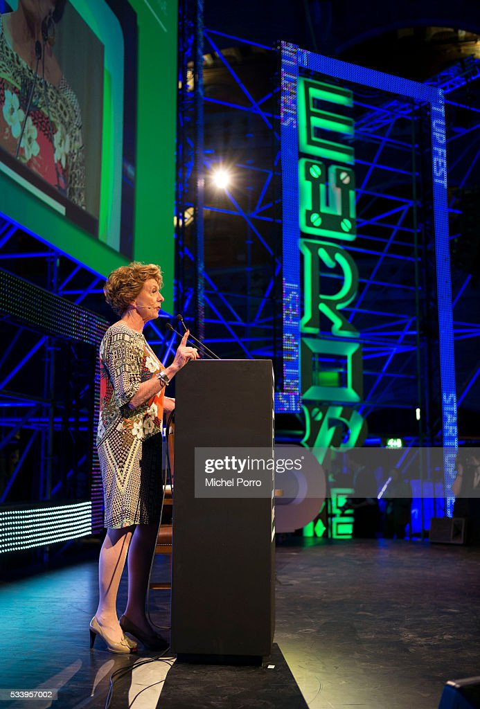Neelie Kroes gives a presentation during the kick-off of Startup Fest Europe on May 24, 2016 in Amsterdam, The Netherlands. The event facilitates match-making between investors and startup entrepreneurs from all over the world.