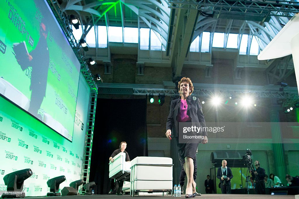 <a gi-track='captionPersonalityLinkClicked' href=/galleries/search?phrase=Neelie+Kroes&family=editorial&specificpeople=754723 ng-click='$event.stopPropagation()'>Neelie Kroes</a>, member of the European Commission in charge of the development of online markets, exits after attending a panel session at the Disrupt Europe 2014 conference in London, U.K., on Monday, Oct. 20, 2014. The TechCrunch event features representatives from global start-up companies involved in industries including medical diagnostics, enterprise mobile tools, and financial technology. Photographer: Jason Alden/Bloomberg via Getty Images