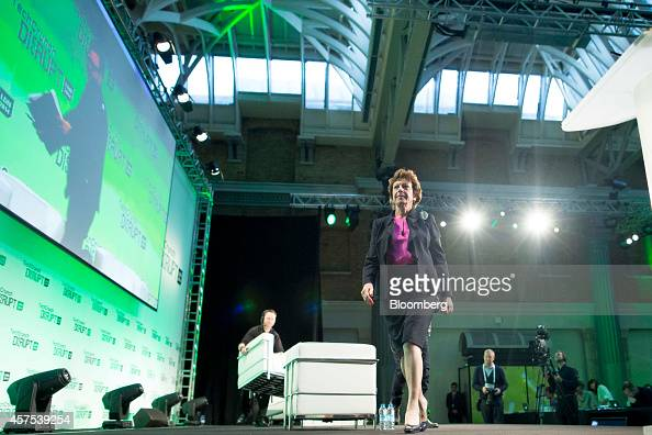 Neelie Kroes member of the European Commission in charge of the development of online markets exits after attending a panel session at the Disrupt...