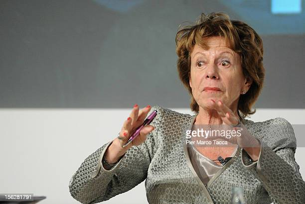 Neelie Kroes vice president of the European Commission and European Digital Agenda commissioner participates in the Financial Times of London Italy...