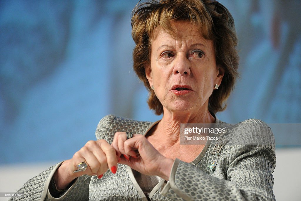 <a gi-track='captionPersonalityLinkClicked' href=/galleries/search?phrase=Neelie+Kroes&family=editorial&specificpeople=754723 ng-click='$event.stopPropagation()'>Neelie Kroes</a>, vice president of the European Commission and European Digital Agenda commissioner, participates in the Financial Times of London Italy Summit on November 12, 2012 in Milan, Italy. The summit was organized by the Times with industry leaders, policy-makers and investors to discuss the political and economic future of Italy and Europe.