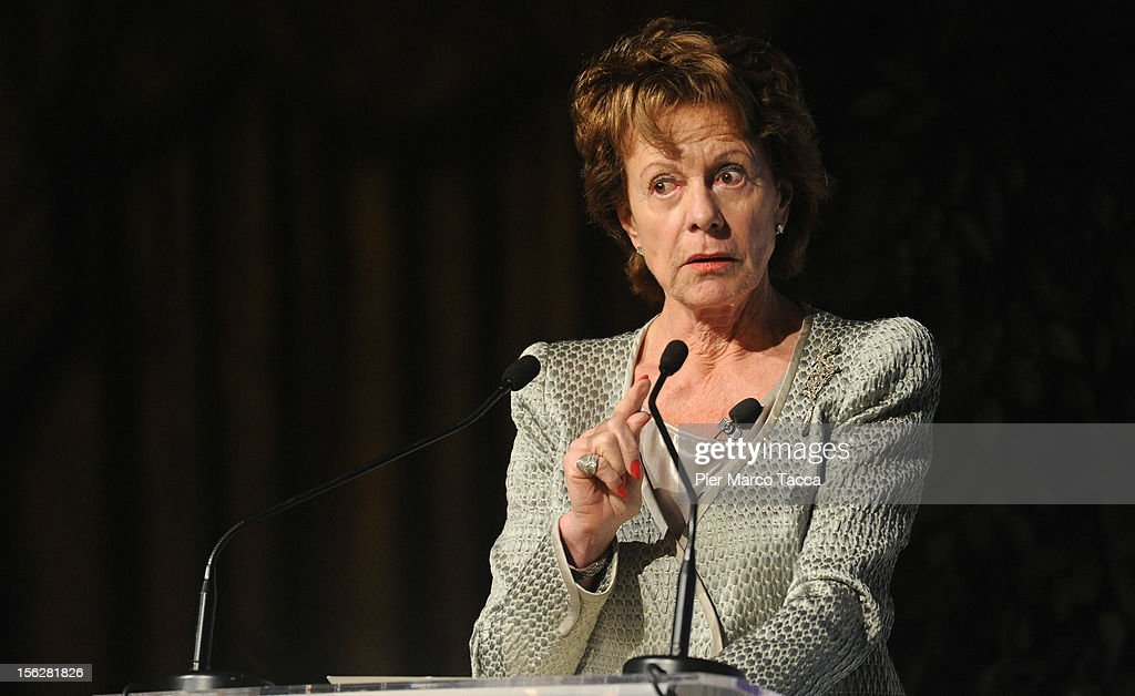 Neelie Kroes, vice president of the European Commission and European Digital Agenda commissioner, participates in the Financial Times of London Italy Summit on November 12, 2012 in Milan, Italy. The summit was organized by the Times with industry leaders, policy-makers and investors to discuss the political and economic future of Italy and Europe.