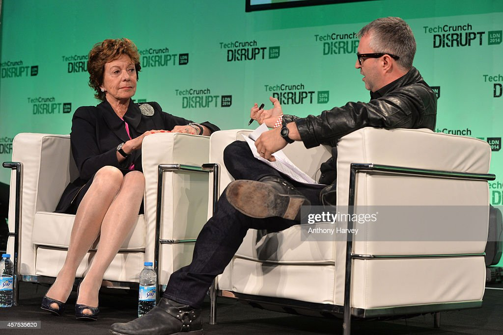Neelie Kroes, Vice President of the European Commission, and TechCrunch Moderator Mike Butcher on stage during the 2014 TechCrunch Disrupt Europe/London at The Old Billingsgate on October 20, 2014 in London, England.
