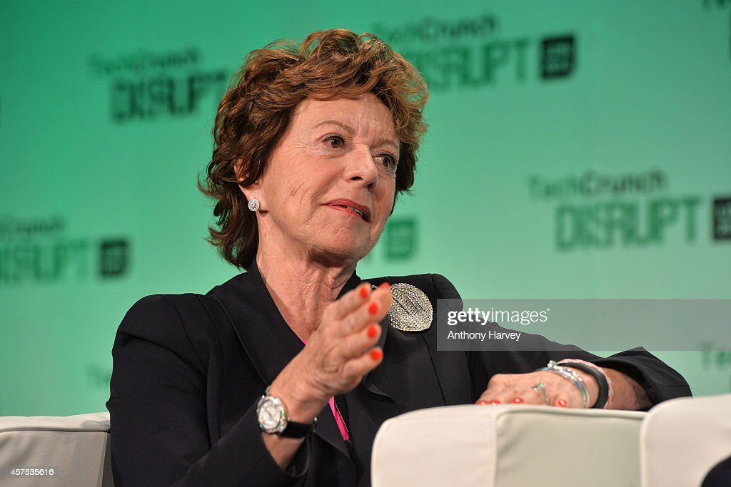 Neelie Kroes, Vice President of the European Commission on stage during the 2014 TechCrunch Disrupt Europe/London at The Old Billingsgate on October 20, 2014 in London, England.