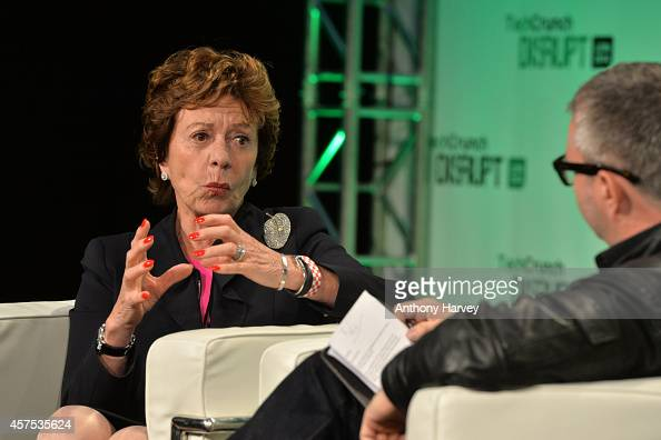 Neelie Kroes Vice President of the European Commission on stage during the 2014 TechCrunch Disrupt Europe/London at The Old Billingsgate on October...