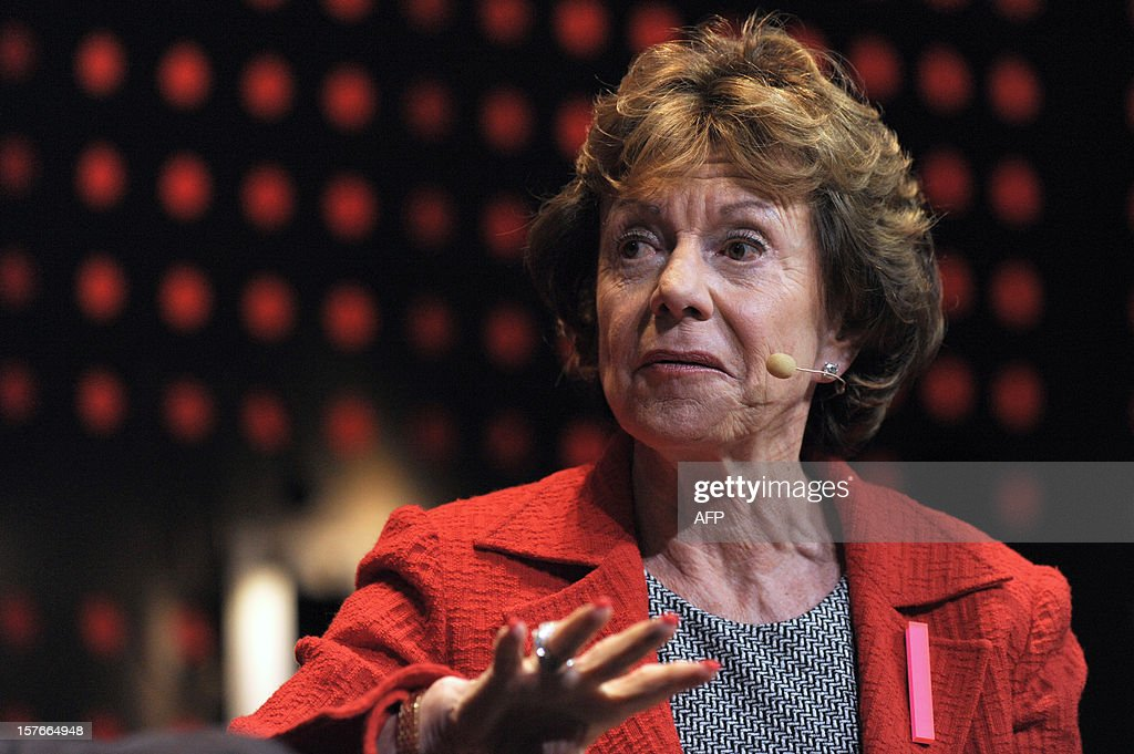 Neelie Kroes, Vice President of the European Commission responsible for the Digital Agenda for Europe, talks during a session at LeWeb Paris 2012 in Saint-Denis, near Paris on December 5, 2012.