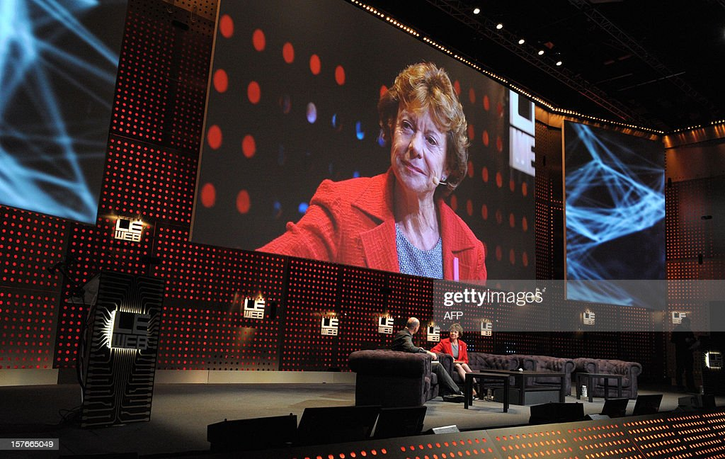 Neelie Kroes, Vice President of the European Commission responsible for the Digital Agenda for Europe, talks during a session at LeWeb Paris 2012 in Saint-Denis, near Paris on December 5, 2012. AFP PHOTO ERIC PIERMONT