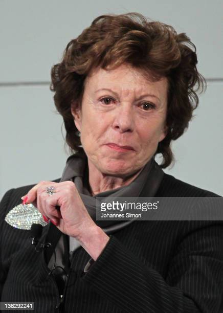 Neelie Kroes Vicepresident of the European commission participates in a panel discussion during day 3 of the 48th Munich Security Conference at Hotel...