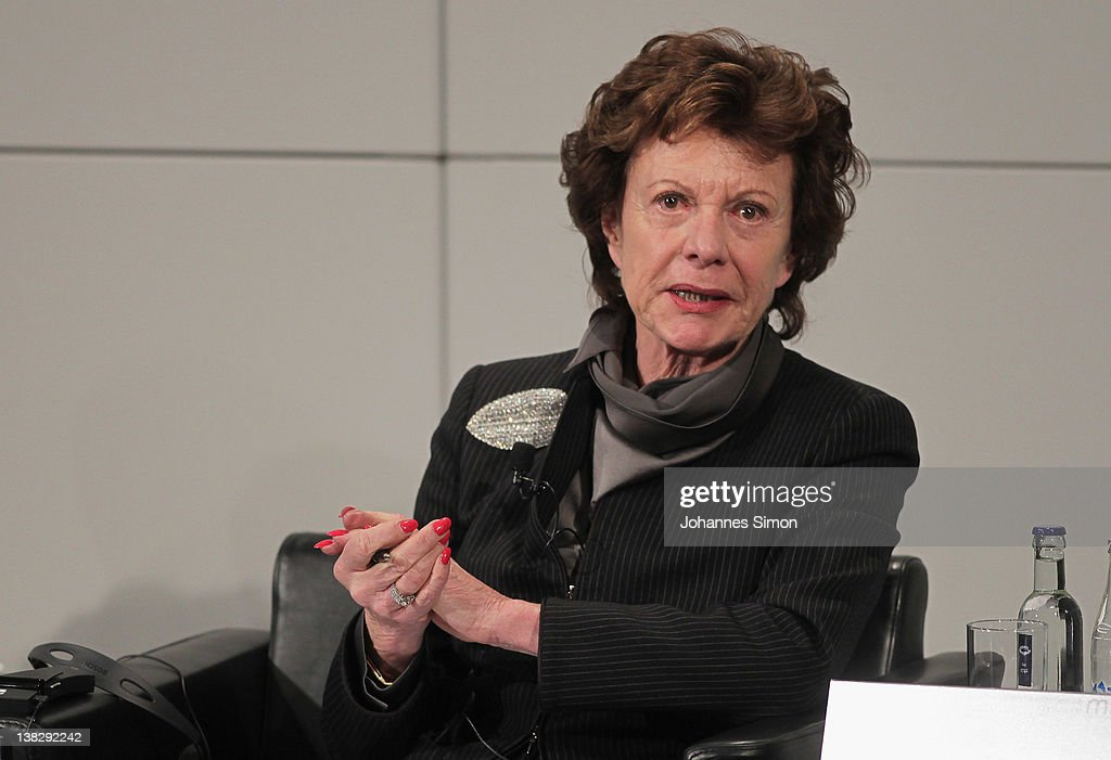 <a gi-track='captionPersonalityLinkClicked' href=/galleries/search?phrase=Neelie+Kroes&family=editorial&specificpeople=754723 ng-click='$event.stopPropagation()'>Neelie Kroes</a>, Vice-president of the European commission, participates in a panel discussion during day 3 of the 48th Munich Security Conference at Hotel Bayerischer Hof on February 5, 2012 in Munich, Germany. The 48th Munich conference on security policy is running till February 5, 2012.