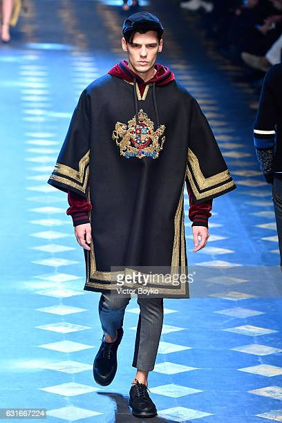 Neels Visser walks the runway at the Dolce Gabbana show during Milan Men's Fashion Week Fall/Winter 2017/18 on January 14 2017 in Milan Italy