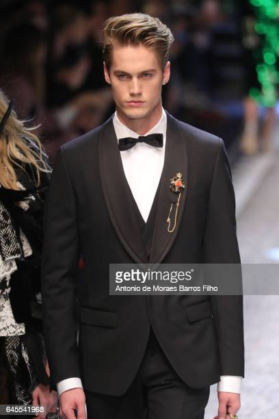 Neels Visser walks the runway at the Dolce Gabbana show during Milan Fashion Week Fall/Winter 2017/18 on February 26 2017 in Milan Italy