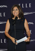 Neera Tanden attends a reception hosted by ELLE EditorinChief Robbie Myers and Center for American Progress President Neera Tanden sponsored by...