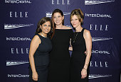 Neera Tanden Debra Messing and Robbie Myers attend a reception hosted by ELLE EditorinChief Robbie Myers and Center for American Progress President...
