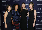 Neera Tanden Lynn Whitfield Debra Messing and Robbie Myers attend a reception hosted by ELLE EditorinChief Robbie Myers and Center for American...