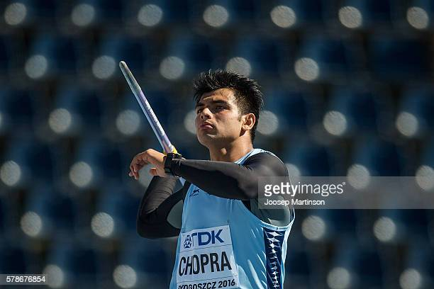 Neeraj Chopra from India competes in men's jewelin throw qualification round during the IAAF World U20 Championships at the Zawisza Stadium on July...