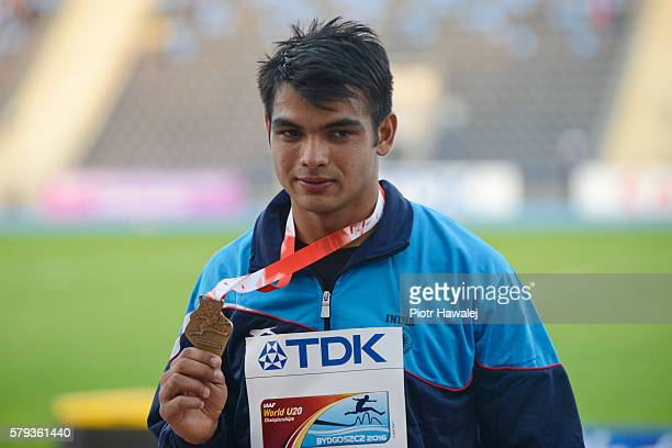 Neeraj Chopra from India on the podium after men's jewelin throw during the IAAF World U20 Championships at the Zawisza Stadium on July 23 2016 in...